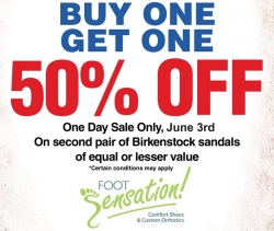 1 Day Buy One Get One 50% Off at Foot Sensations - June 3rd