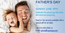 Specials at Rayne Spa for Father's Day